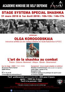 L'Art de la Shashka au combat, animé par Olga Korogodskaia @ Ansd | Nîmes | Occitanie | France