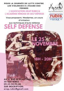 Cours d'auto défense féminine offert. @ ARAP RUBIS